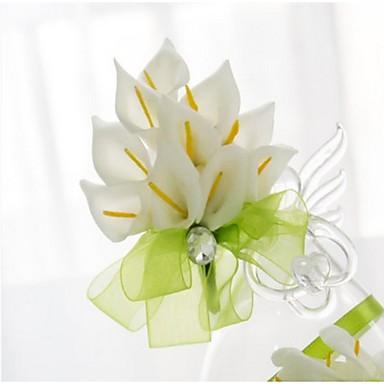 Düğün Çiçekleri Elle Bağlanmış Lilies Boutonnieres Düğün Parti/Gece Saten Elastik Saten