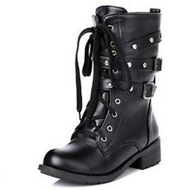 Γυναικεία Παπούτσια Δερματίνη Χειμώνας Φθινόπωρο Χαμηλό τακούνι 5,08εκ - 10,16εκ Μποτίνια Καρφιά για Causal Μαύρο