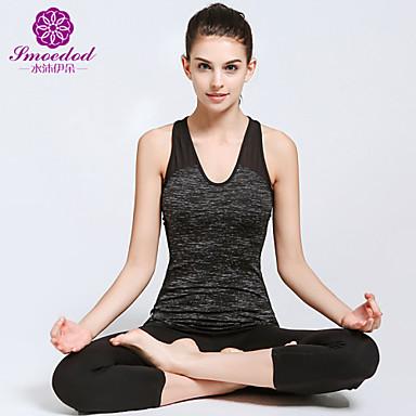 Damen Yoga Kleidung - Schwarz Sport Kleidungs-Sets Yoga, Pilates, Übung & Fitness Ärmellos Vier-Wege-Stretch, Weichheit, Abgegrenzte