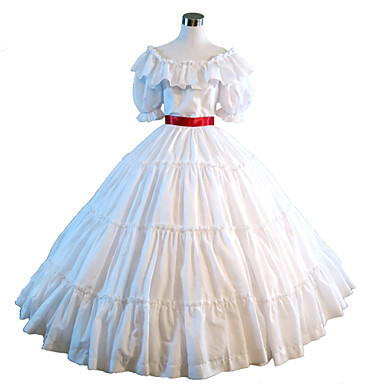 One-Piece Gothic Lolita Steampunk®/Victorian Cosplay Lolita Dress White Solid Short Sleeve Dress For Women Civil War Southern Belle Ball Gown Dress