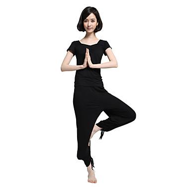 Dame Yogaklær - Svart sport Mote Modal Klessett Pilates, Trening & Fitness, Løp Kortermet Sportsklær Lettvektsmateriale Elastisk