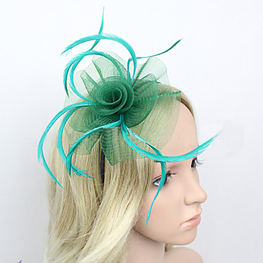 Feather Net Fascinators Headwear with Floral 1pc Wedding Special Occasion Headpiece