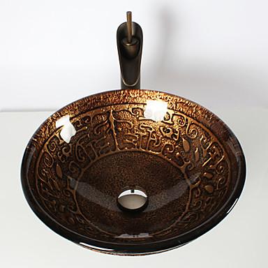 Waschbecken für Badezimmer / Armatur für Badezimmer / Einbauring für Badezimmer Antike - Hartglas Rundförmig