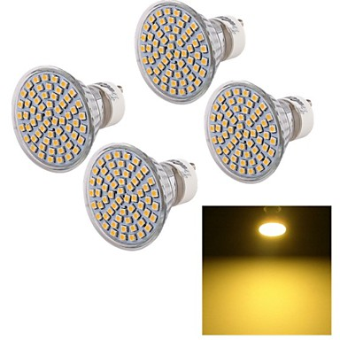 5W GU10 LED-kohdevalaisimet A50 60 SMD 3528 450 lm Lämmin valkoinen Koristeltu AC 220-240 V 4 kpl