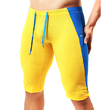 Men's Patchwork Running Shorts - Yellow, Blue, Dark Green Sports Fashion Shorts / Tights / Leggings Fitness, Gym Activewear Breathable,