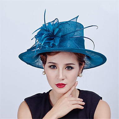 Flax / Feather Hats / Headwear with Floral 1pc Wedding / Special Occasion / Casual Headpiece