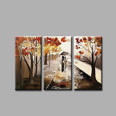 Hang malte oljemaleri Håndmalte - Landskap Moderne Inkluder indre ramme / Tre Paneler / Stretched Canvas