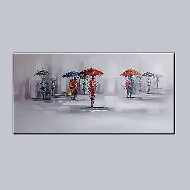 Maalattu Ihmiset Vaakatasoinen panoraama, Moderni Kangas Hang-Painted öljymaalaus Kodinsisustus 1 paneeli