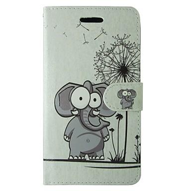 iphone 5/5 saniye manyetik çırpıda ve kart yuvası ile karikatür fil ve karahindiba desen pu deri çevirme durumda