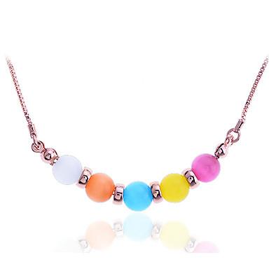 Kadın's Uçlu Kolyeler - Paslanmaz Çelik, Altın Kaplama, Opal Renkli Gökküşağı Kolyeler Uyumluluk Parti, Günlük