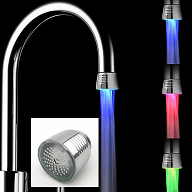 LED Water Faucet Light Colors Changing Glow Shower Stream Tap Kitchen Bathroom Accessories