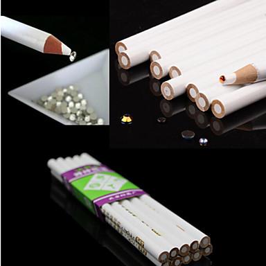 3pcs weiße Nagelkunst Rhinestones Edelsteine sammeln 3d design Maler pencil pen punktieren Tools Kit