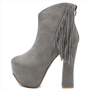 Botlar - Günlük - Sivri Burun - Yapay Deri - Kalın Topuk - Siyah / Gri - Kadın ayakkabı