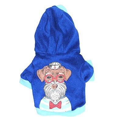 Gatos / Cães Camiseta / Camisola com Capuz Azul Roupas para Cães Primavera/Outono Floral / Botânico Da Moda