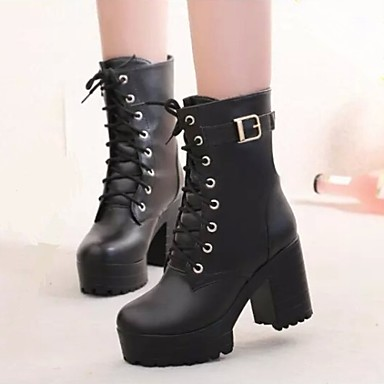 c195aff7b41 Women's Shoes Platform Chunky Heel Round Toe Combat Boots Dress ...