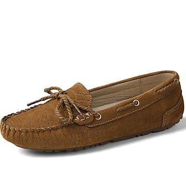 للمرأة أحذية فرو ظبي ربيع / خريف مريح أحذية القارب كعب مسطخ دانتيل فوشيا / بني فاتح / الحفلات و المساء