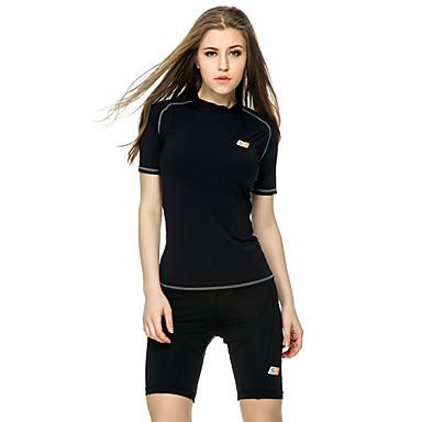 Mulheres Camiseta de Corrida Manga Curta Vestível Macio Materiais Leves Redutor de Suor Compressão Blusas para Ioga Pilates Exercício e