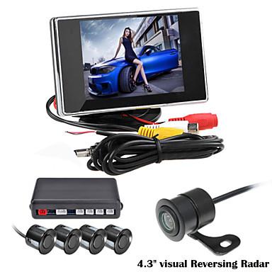 renepai® 3,5 tuuman 4 koetin pysäköintianturit LCD näytön kamera video auto kääntää varmuuskopiointi tutkajärjestelmän pakki summahälytys