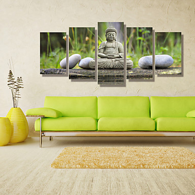 Landscape People Photographic Modern, Five Panels Horizontal Print Wall Decor Home Decoration