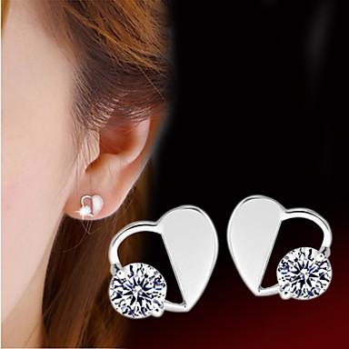 Damen Herz Sterling Silber Silber Ohrstecker - Herz Geburtssteine Herz Ohrringe Für Hochzeit Party Alltag Normal Sport