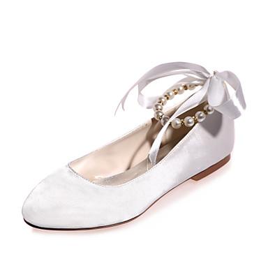 γυναικεία παπούτσια σατέν άνοιξη / καλοκαίρι επίπεδη πένα μαργαριτάρι / δαντέλα-up ροζ / χρυσό / ελεφαντόδοντο / γάμος / πάρτι& απόγευμα