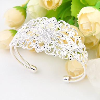 Men's Women's Bangles Silver Plated Oval Jewelry Wedding Party Daily Casual Sports