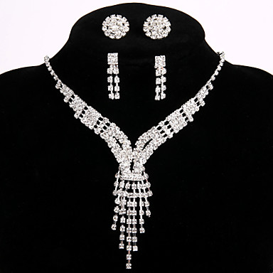 2 Pairs of Rhinestone Earrings with Fashion Bridal Wedding Party Jewelry Sets Crystal Necklace Ring Bracelet Earrings Gift