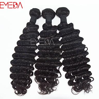 Cabelo Humano Ondulado Cabelo Peruviano Onda Profunda 3 Peças tece cabelo