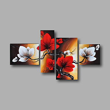 El-Boyalı Soyut / Çiçek/BotanikModern Dört Panelli Kanvas Hang-Boyalı Yağlıboya Resim For Ev dekorasyonu