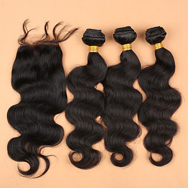 Maláj haj Hullámos haj Hair Vetülék, zárral Emberi haj sző Fekete