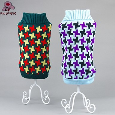Cat Dog Sweater Christmas Dog Clothes Fashion Color Block Green Blue Pink Costume For Pets