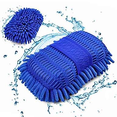 Luvas ultrafinas de lavagem de carro esponja de fibra escova chenille janela ferramenta limpa cor aleatória