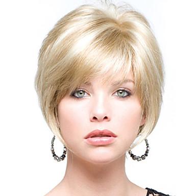 billige Lågløs-Human Hair Capless Parykker Menneskehår Lige Korte frisurer 2019 Stil Lågløs Paryk / Ret