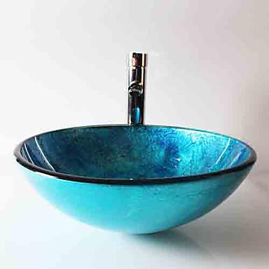 Moderne Rund Vaskmateriale er Herdet Glass Baderomsvask Baderomskran Baderom Monteringsring Baderom Vannavløp
