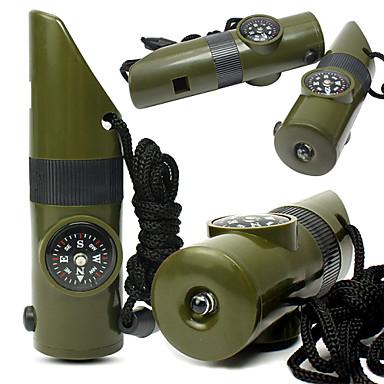 Survival Whistle / Signal Mirror / henkiinjäämispakkaus / Kompassit / Lämpömittari / Suurennuslasi Retkeily Pilli Muovi Vihreä
