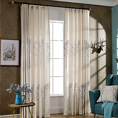 Grommet Top Double Pleat Two Panels Curtain Modern Neoclassical Country, Print Bedroom Poly / Cotton Blend Material Curtains Drapes Home