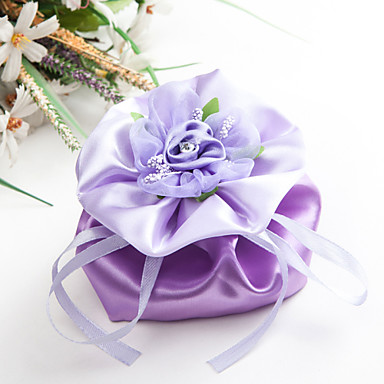 Creative Satin Favor Holder with Rhinestone Ribbons Flower Favor Bags - 6