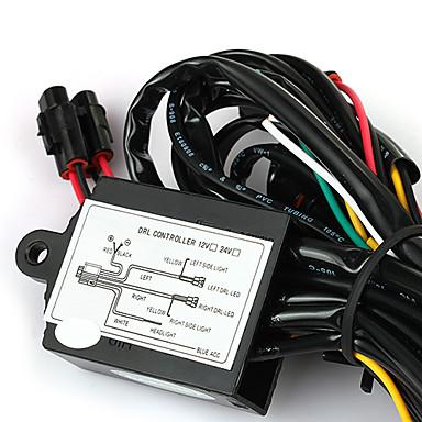 gépjármű LED-es nappali DRL ködlámpa relé kábelköteg ellenőrzés kikapcsolása halványabb