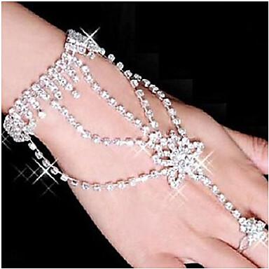 Feminino Enrole Pulseiras Pulseiras Anéis bijuterias Strass Prata Chapeada Imitações de Diamante Liga Estrela Jóias Para Festa Diário
