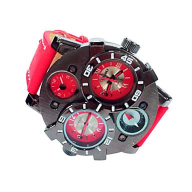 JUBAOLI Men's Quartz Wrist Watch Military Watch Calendar / date / day Leather Band Charm Black Blue Red Brown Navy