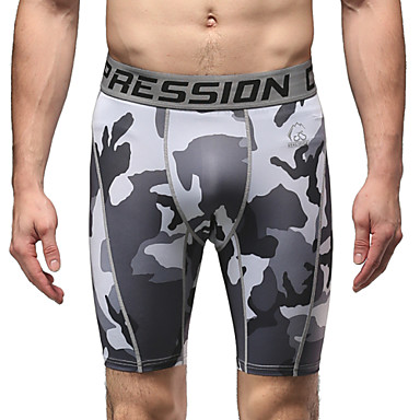 Vansydical® Homens Shorts de Corrida Respirável Calças Exercício e Atividade Física / Corrida Branco + cinza M / L / XL