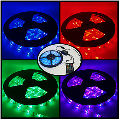 RGB Strip Lights 300 LEDs RGB Remote Control / RC Cuttable Dimmable Color-Changing Suitable for Vehicles DC 12V