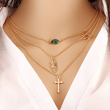 Wholesale Women Necklace European Style Cross Evil Eye Layered Chain Necklace