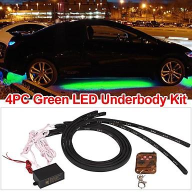 asettaa 4 auton alustan alle hehku vihreä led valo nauhat