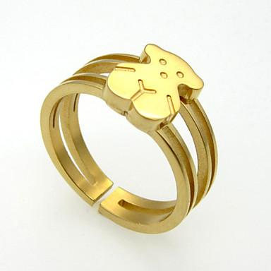 Homens Mulheres Casal Anel de banda Prata Dourado Aço Inoxidável Chapeado Dourado Casamento Festa Diário Casual Jóias de fantasia