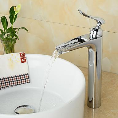 Nykyaikainen Integroitu Vesiputous Keraaminen venttiili Yksi reikä Yksi kahva yksi reikä Kromi, Kylpyhuone Sink hana