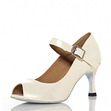 Women's Latin Shoes Faux Leather Sandal Performance Buckle Customizable Dance Shoes White