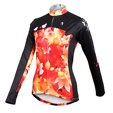 ILPALADINO Women's Long Sleeves Cycling Jersey - Black/Orange Bike Jersey, Quick Dry, Breathable