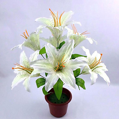 Artificial Flowers 1 Branch Simple Style Lilies Tabletop Flower