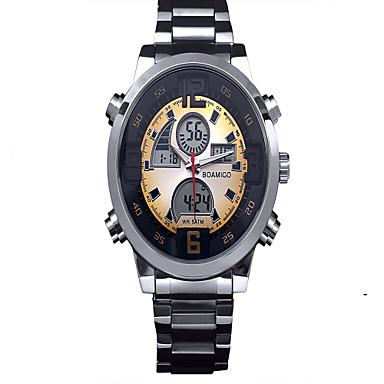 Men's Quartz Wrist Watch Chronograph LED Stainless Steel Band Charm Black Silver